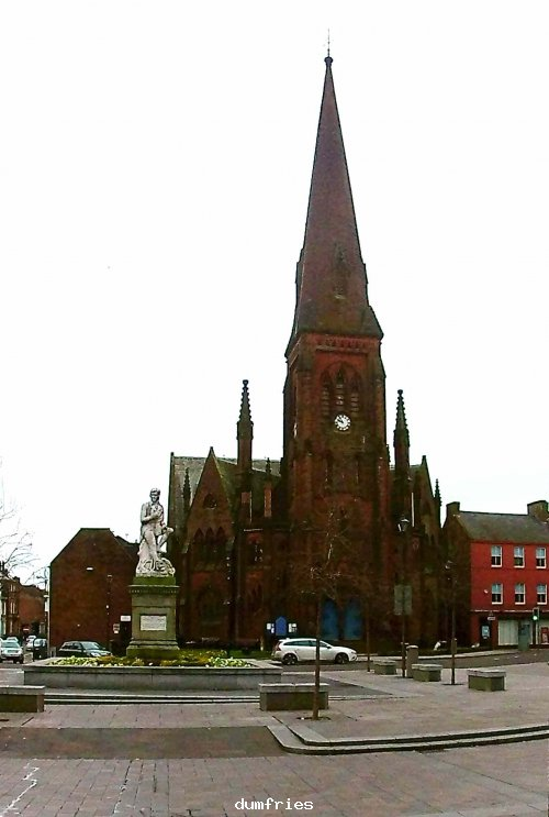 Burns Square with church